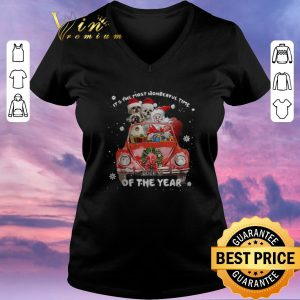 Hot Christmas Shih Tzu Santa its the most wonderful time of the year shirt