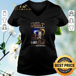 Hot With Jesus in her heart coffee hand & her Cat she is unstoppable shirt sweater