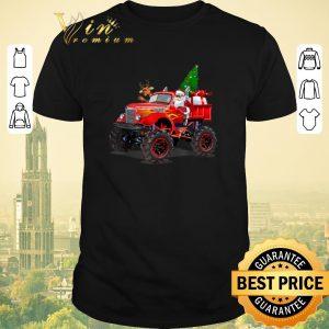 Nice Christmas Tree Santa And Reindeer On Monster Truck shirt