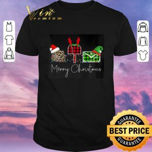 Nice Mail Merry Christmas Leopard Plaid shirt sweater