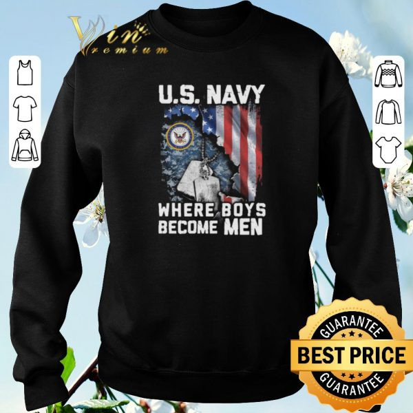 Official US Navy Where Boys Become Men American flag shirt sweater
