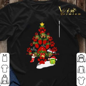 Paw dog Christmas tree gift shirt sweater 2