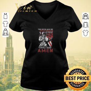 Premium Skull veteran the devil saw me with my head down and Amen shirt sweater