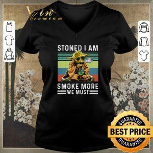 Premium Vintage Baby Yoda Stoned I am smoke more we must shirt