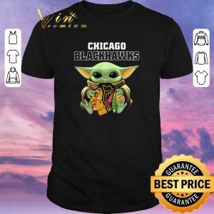 Pretty Baby Yoda Hug Chicago Blackhawks Star Wars Mandalorian shirt sweater
