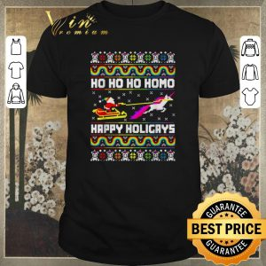 Pretty LGBT Santa Unicorn Ho ho ho Homo Happy Holigays Christmas sweater