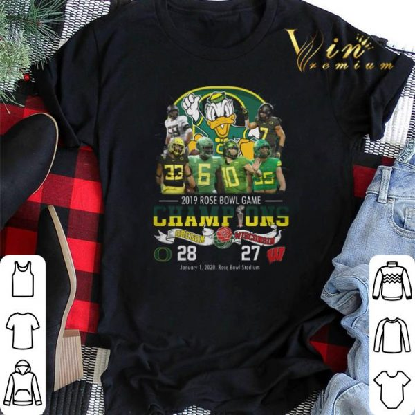 2019 Rose Bowl Game Champions Oregon Ducks vs Wisconsin 28 27 shirt sweater