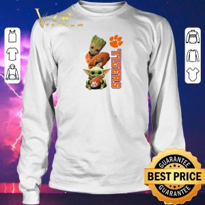 Awesome Baby Groot and Baby Yoda hug Clemson Tigers Star Wars shirt sweater 2