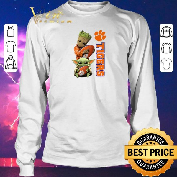 Awesome Baby Groot and Baby Yoda hug Clemson Tigers Star Wars shirt sweater