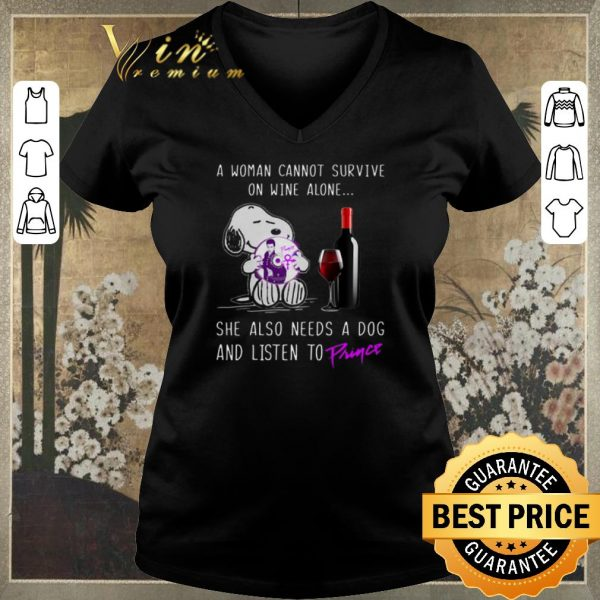 Awesome Snoopy a woman cannot survive on wine alone needs a dog Prince shirt sweater