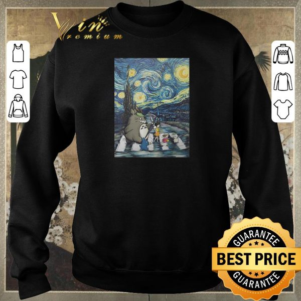 Awesome Studio Ghibli Friends And Starry Night Abbey Road Van Gogh shirt sweater