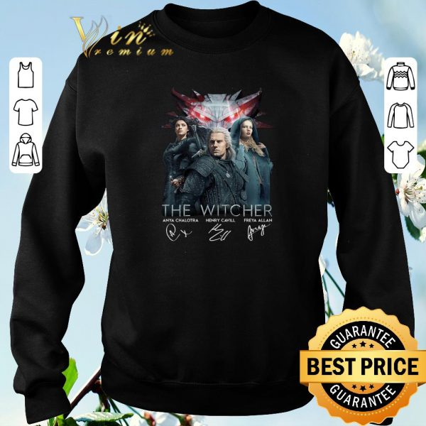 Awesome The Witcher Anya Chalotra Henry Cavill Freya Allan autographed shirt sweater