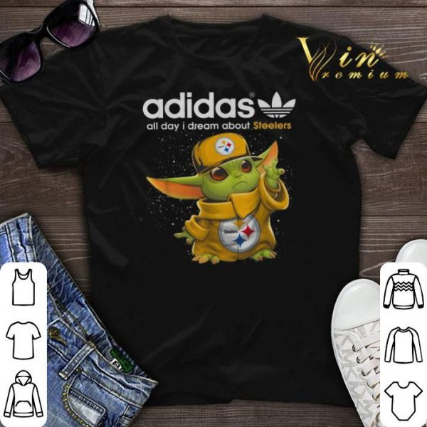 Baby Yoda adidas all day i dream about Pittsburgh Steelers shirt sweater