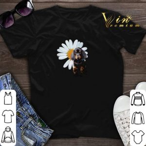 Dachshund and a Daisy flower white shirt sweater