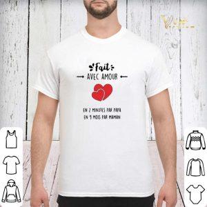 Fait avec amour en 2 minutes par papa en 9 mois par maman shirt sweater 2