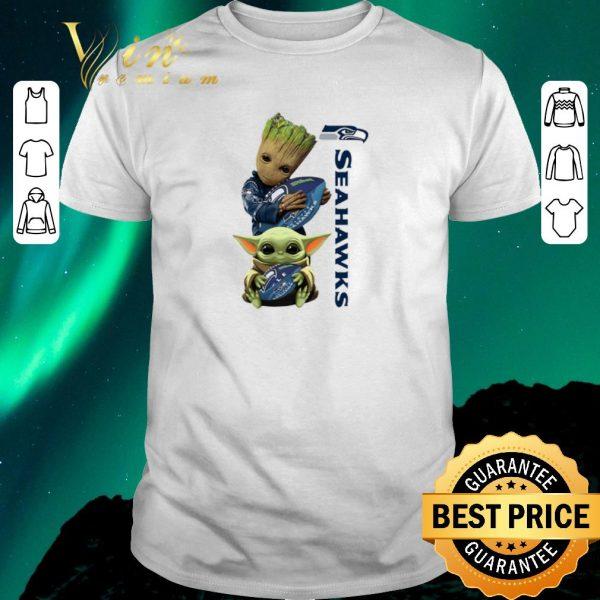 Funny Baby Groot And Baby Yoda Hug Seattle Seahawks Star Wars shirt sweater