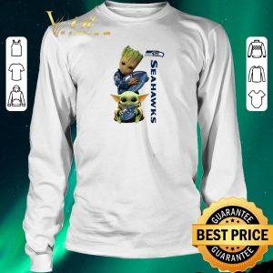 Funny Baby Groot And Baby Yoda Hug Seattle Seahawks Star Wars shirt sweater 2