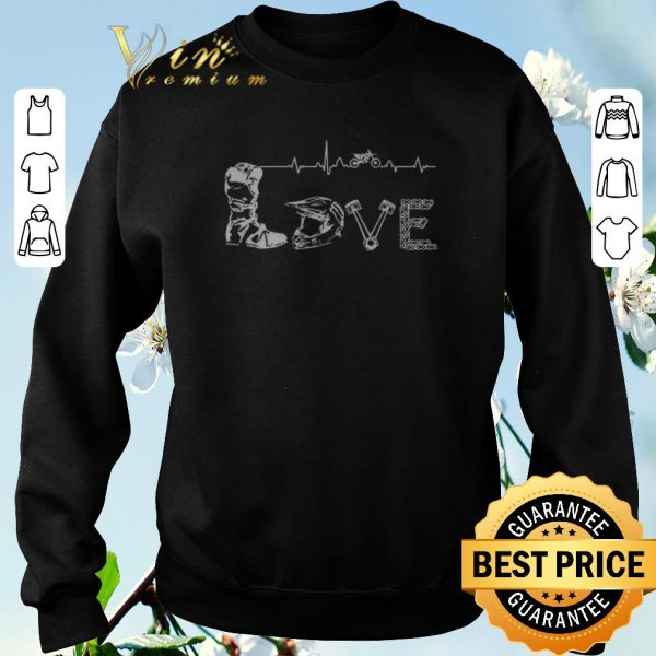 Nice Motocross Love Letters With Heartbeat shirt sweater
