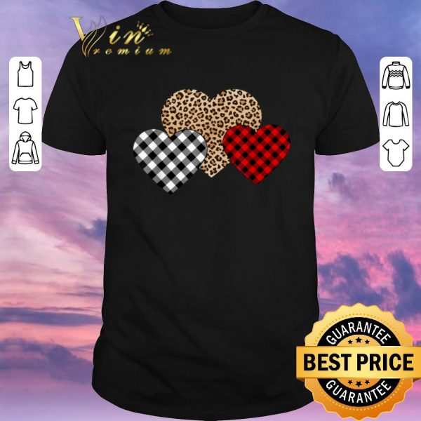 Nice Valentine's Day Valentine Three Hearts Leopard Buffalo Plaid shirt sweater