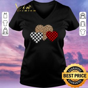 Nice Valentine's Day Valentine Three Hearts Leopard Buffalo Plaid shirt sweater 1