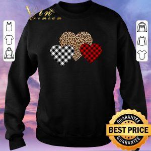Nice Valentine's Day Valentine Three Hearts Leopard Buffalo Plaid shirt sweater 2