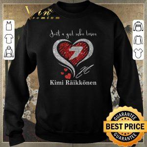 Official Diamond heart just a girl who loves Kimi Raikkonen signature shirt sweater 2