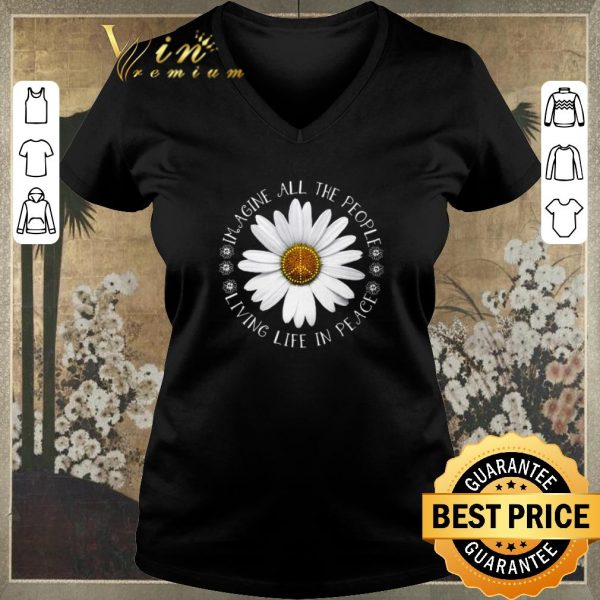 Original Hippie Flower imagine all the people living life in peace shirt sweater