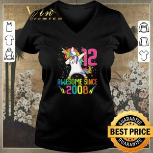 Pretty Awesome Since 2008 12 Years Old 12th Birthday Unicorn Dabbing shirt sweater 1