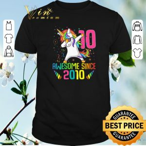 Pretty Awesome Since 2010 10 Years Old 10th Birthday Unicorn Dabbing shirt sweater