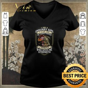Pretty Warrior I am a january girl i can do all things through Christ shirt sweater 1