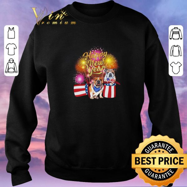 Top Bulldog Happy New Year Fireworks shirt sweater