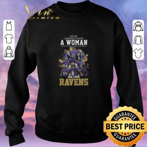 Top Never underestimate a woman who understands Baltimore Ravens shirt sweater 2