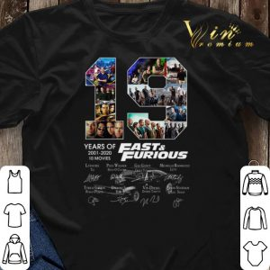 19 years of Fast & Furious 2001 2020 10 movies signatures shirt sweater 2