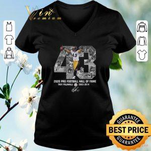 Awesome 43 Troy Polamalu 2020 Pro Football Hall Of Fame Steelers signed shirt sweater 1