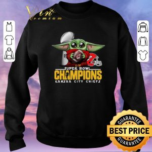 Awesome Baby Yoda Hug Kansas City Chiefs Super Bowl Champions Star Wars shirt sweater 2