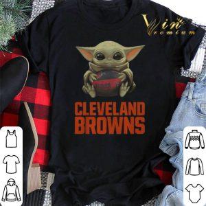 Baby Yoda Hug Cleveland Browns Logo Star Wars shirt sweater 1