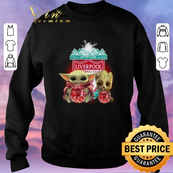 Hot Baby Yoda and Baby Groot hug Liverpool You'll never walk alone shirt sweater
