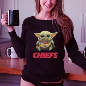 Hot Baby Yoda hug Kansas City Chiefs Logo ball Star Wars shirt 2