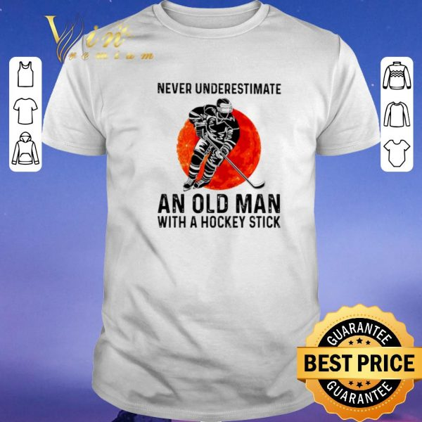 Hot Never underestimate an old man with a hockey stick sunset shirt sweater