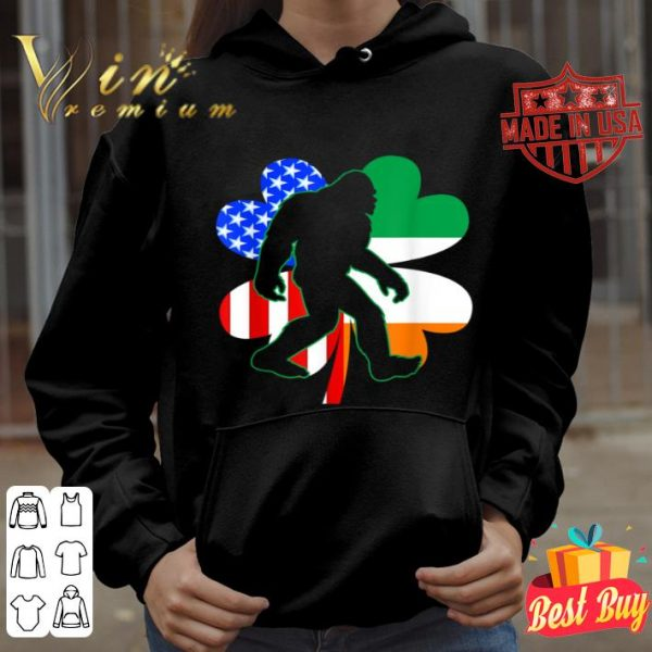 IRISH AMERICAN FLAG Bigfoot Shamrock St Patrick's Day shirt