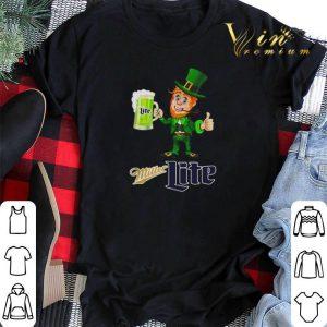 Leprechaun drinking Miller Lite beer shirt sweater 1