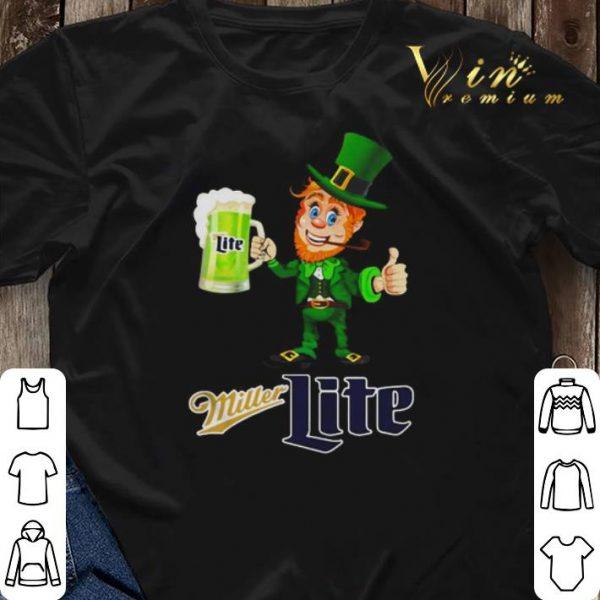 Leprechaun drinking Miller Lite beer shirt sweater