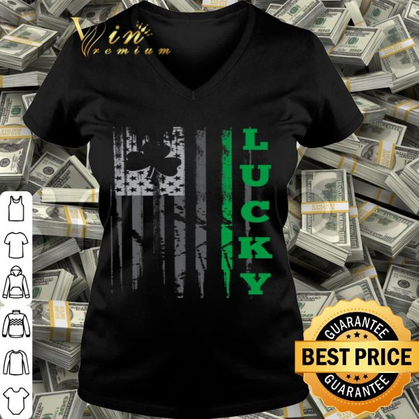 Lucky St. Patrick's Day American USA Flag Clover shirt