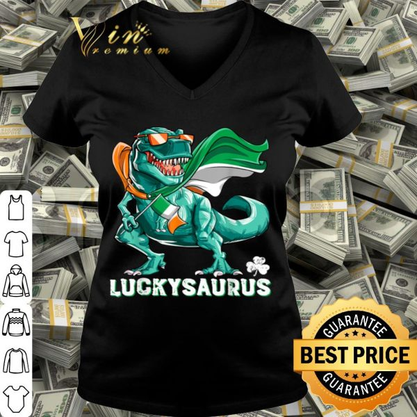 Luckysaurus Dinosaur T rex St Patricks Day Boys Irish Flag shirt