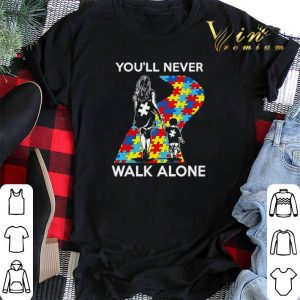 Mother and son You'll never walk alone Autism road shirt sweater 1