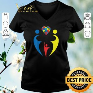 Official Autism Awarness Family Trio Heart Puzzle shirt sweater 1