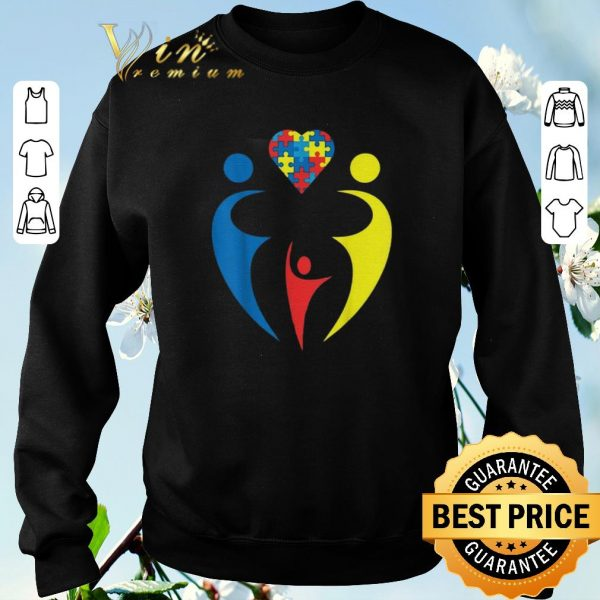 Official Autism Awarness Family Trio Heart Puzzle shirt sweater