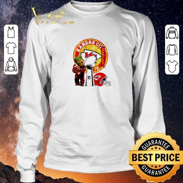 Official Baby Groot hug Super Bowl LIV Kansas City Chiefs Champions Logo shirt sweater