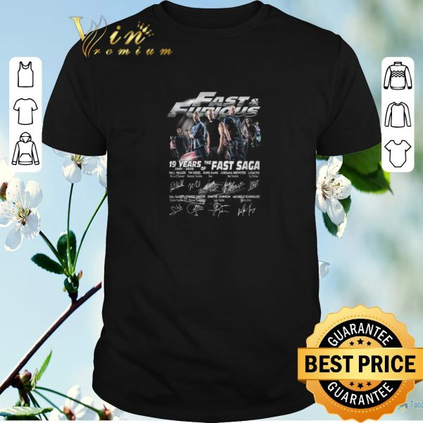 Official Fast & Furious 19 years of the Fast Saga 2001 2020 signatures shirt sweater