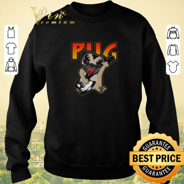 Original Pug playing guitar mashup Kiss shirt sweater